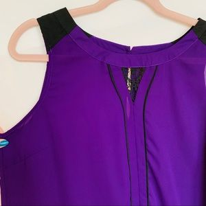 41 Hawthorn Tops - 41Hauthorn purple sleeveless top with lace size XL
